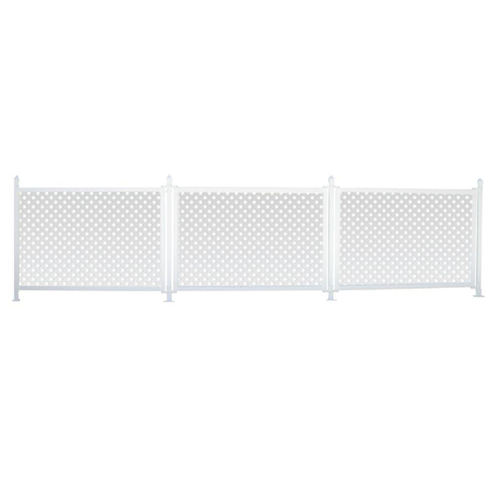 SnapFence 3 ft. x 13 ft. White Modular Vinyl Hinged Fence Starter Kit with Lattice