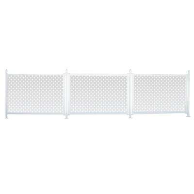 3 ft. x 13 ft. White Modular Vinyl Hinged Fence Starter Kit with Lattice