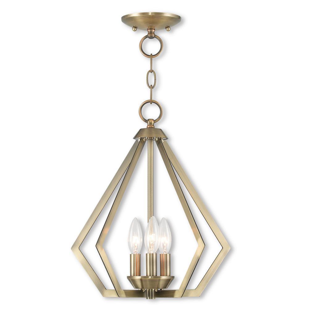 Prism 3 Light Antique Brass Convertible Mini Chandelier/Ceiling Mount