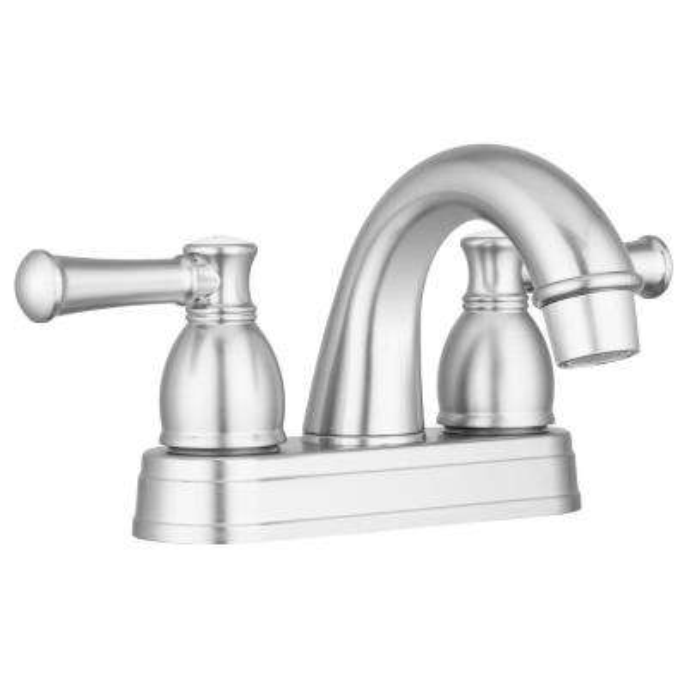 4 in. Centerset 2-Handle Designer Arc Spout RV Bathroom Faucet in Brushed Satin Nickel