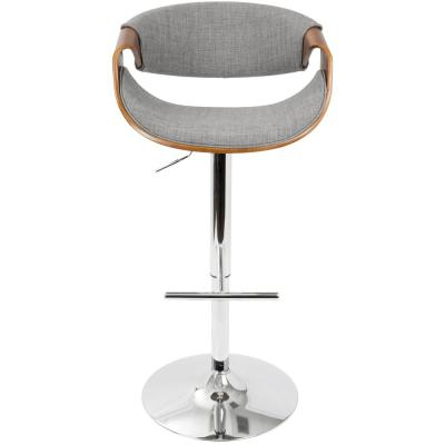Curvo Walnut and Light Grey Adjustable Barstool