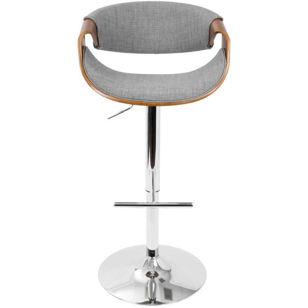 Curvo Walnut and Light Grey Adjustable Barstool
