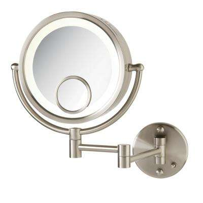 11 in. x 14 in. Lighted Wall Makeup Mirror in Chrome