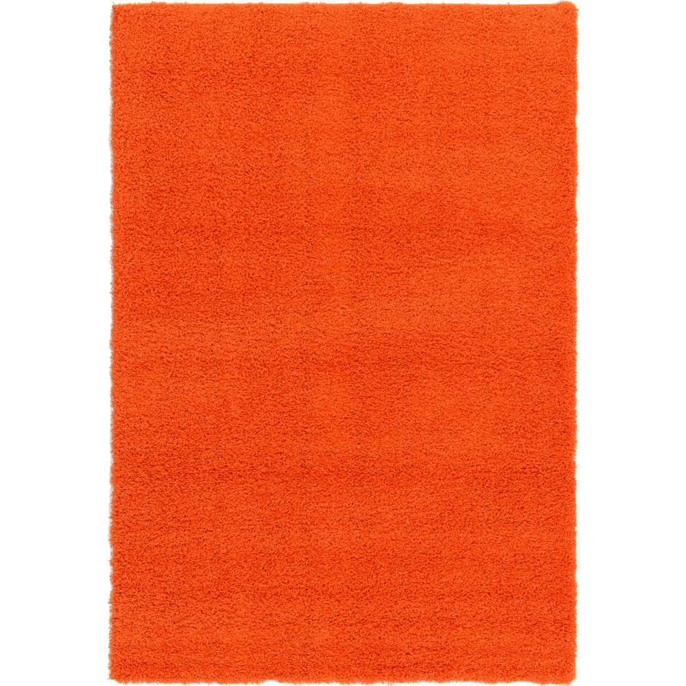 Solid Shag Tiger Orange 6 ft. x 9 ft. Area Rug