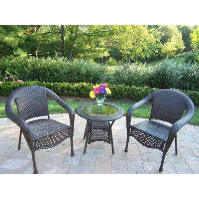 Elite 3-Piece Wicker Patio Bistro Set