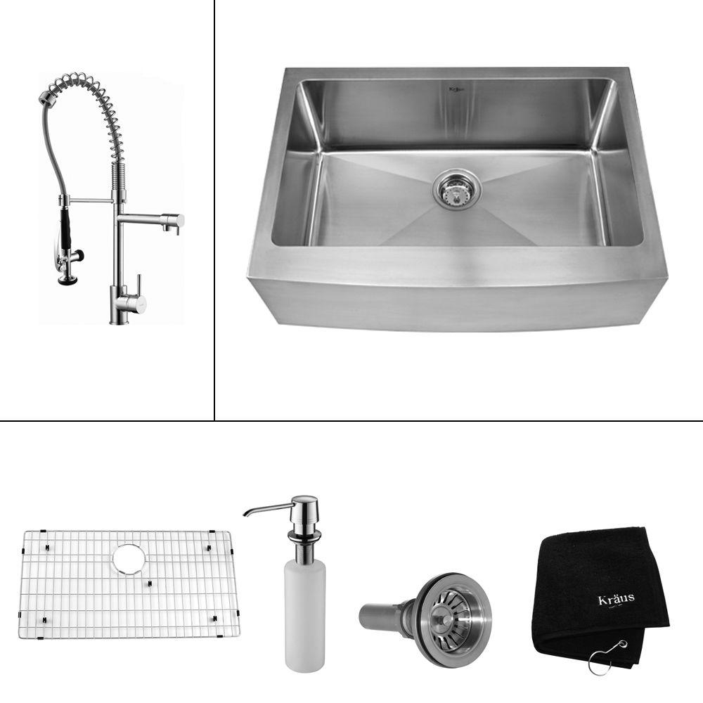 All In One Farmhouse A Front Stainless Steel 30 Single Bowl Kitchen Sink With Faucet And Accessories Chrome