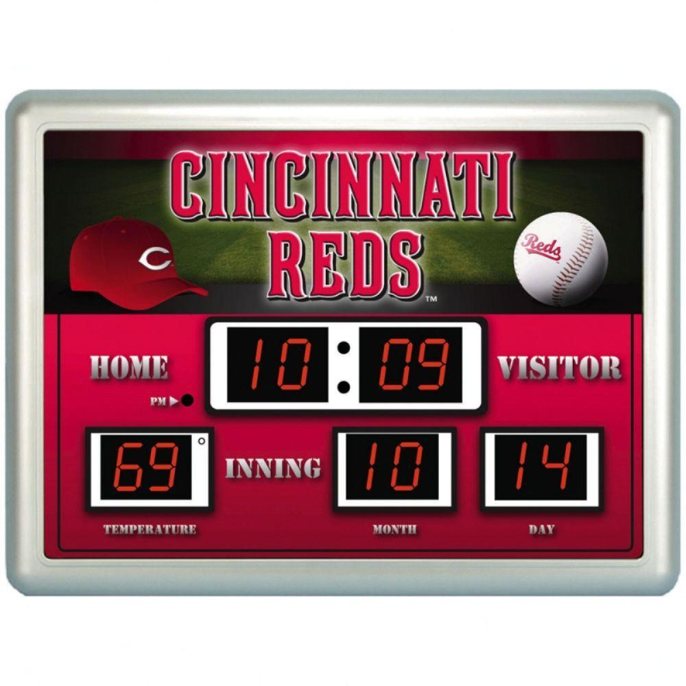 null Cincinnati Reds 14 in. x 19 in. Scoreboard Clock with Temperature