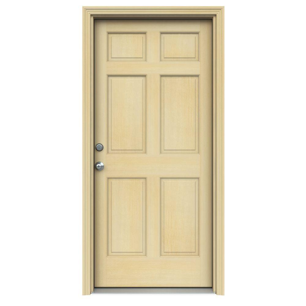 JELD-WEN 32 in. x 80 in. 6-Panel Unfinished Wood Prehung Right-Hand Inswing Front Door w/Rot Resistant Jamb & Brickmould