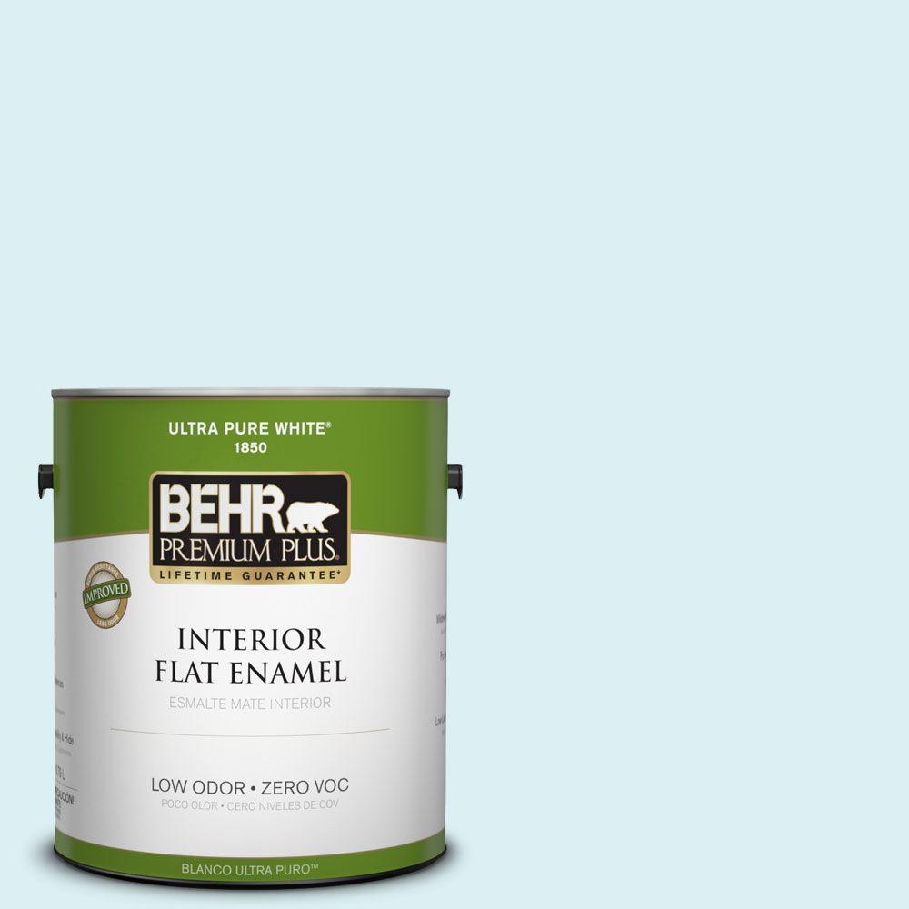 BEHR Premium Plus 1-gal. #510A-1 Soar Zero VOC Flat Enamel Interior Paint-DISCONTINUED