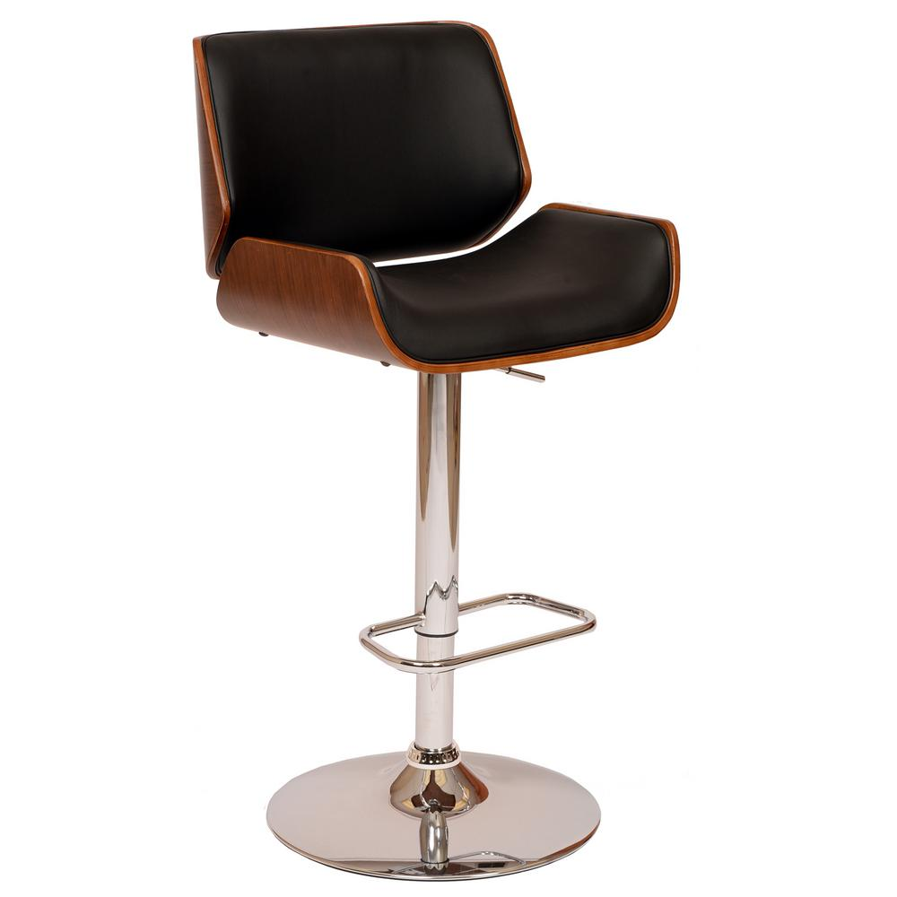 ArmenLiving Armen Living London 37-46 in. Black Faux Leather and Chrome Finish Swivel Barstool