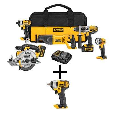 20-Volt MAX Lithium-Ion Cordless Combo Kit (5-Tool) with Bonus Bare Cordless 3/8 in. Impact Wrench with Hog Ring