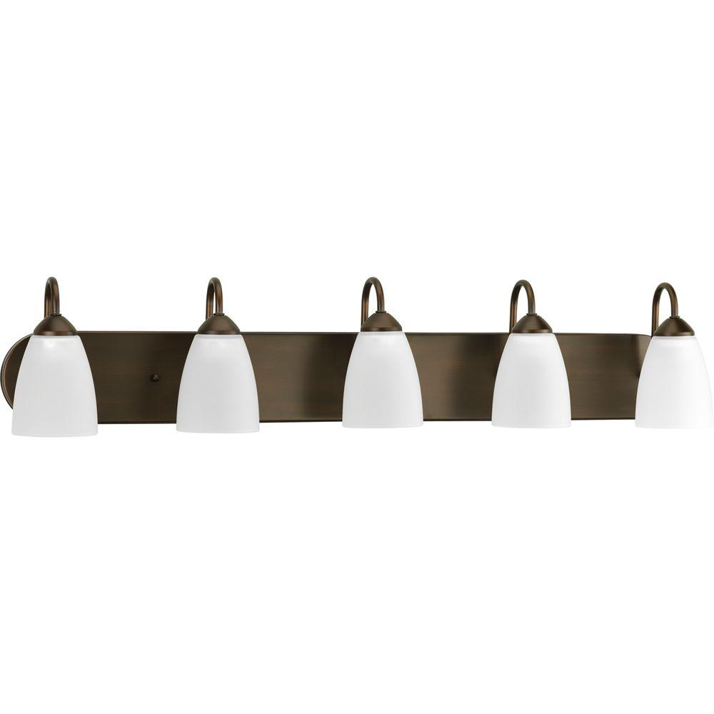 Gather 5 light antique bronze bathroom vanity light with glass shades