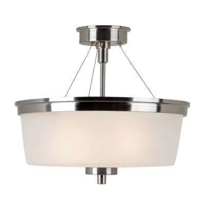 2-Light Brushed Nickel Semi Flush-mount with Frosted Glass