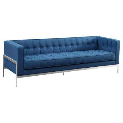 Armen Living Blue Fabric Contemporary Sofa in Brushed Stainless Steel