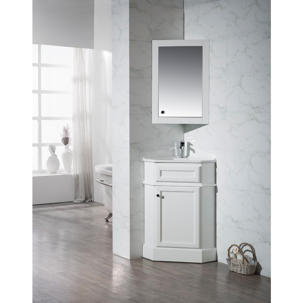 Corner Vanity In White With Porcelain