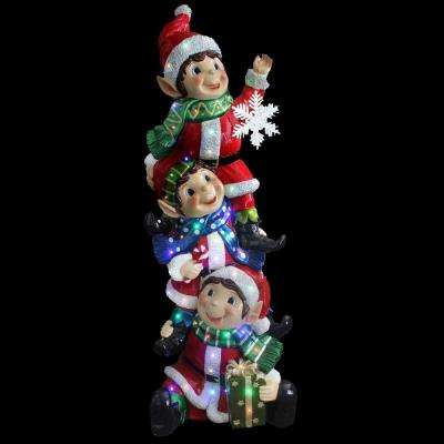 59 in. 50-Light Multi-Color LED Stacking Elves Holding Snowflake with Glossy and Metallic Painting Finish