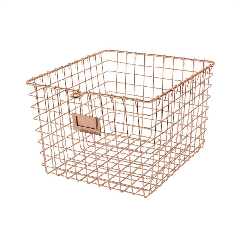 11.875 in. W x 13.75 in. D x 8 in. H Medium Storage Basket in Copper