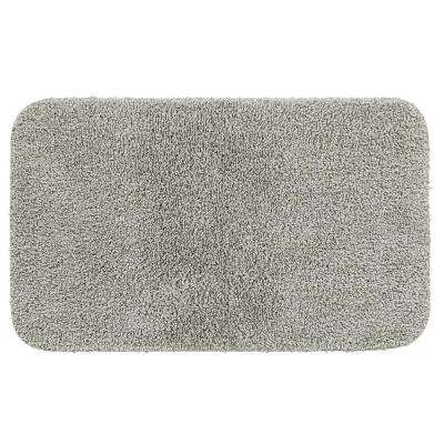 Basic Bath 19.5 in. x 32 in. Nylon Bath Mat in Gray