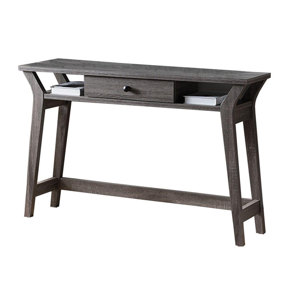 12 in. Rectangular Dark Gray 1 Drawer Writing Desk