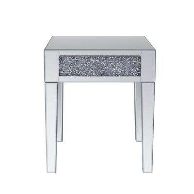 Noralie Mirrored and Faux Diamonds End Table