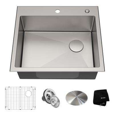 Loften Dual Mount Drop-In Stainless Steel 25 in. 1-Hole Single Bowl Kitchen Sink