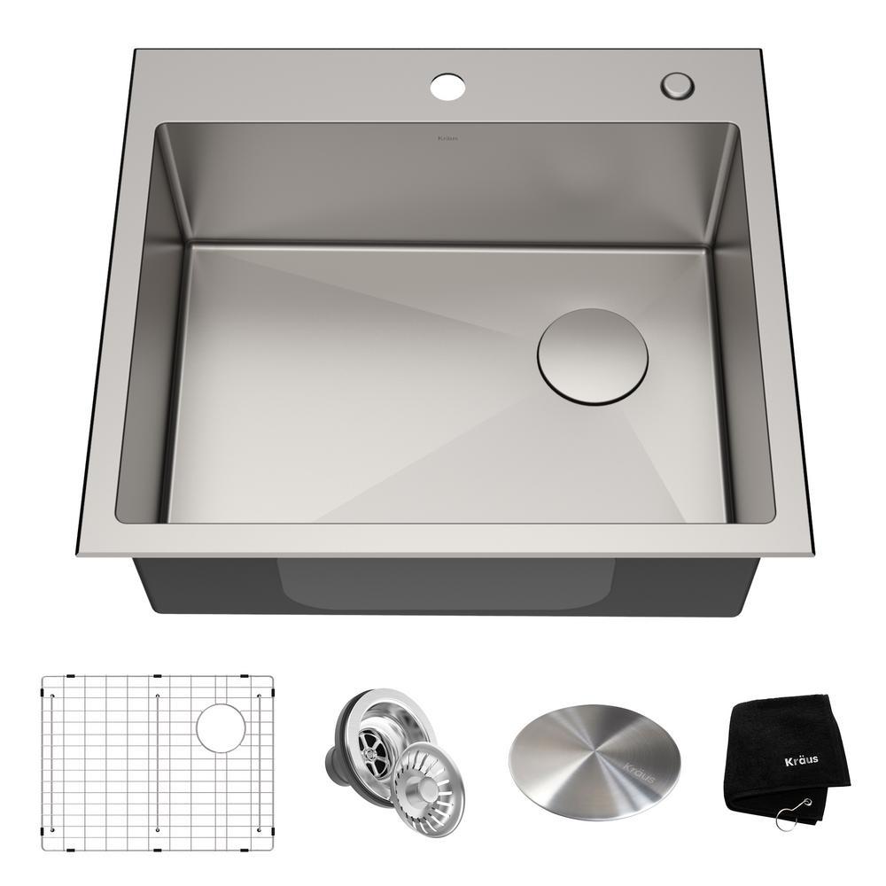 Loften Dual Mount Drop-In Stainless Steel 25 in. 1-Hole Single Bowl Kitchen Sink