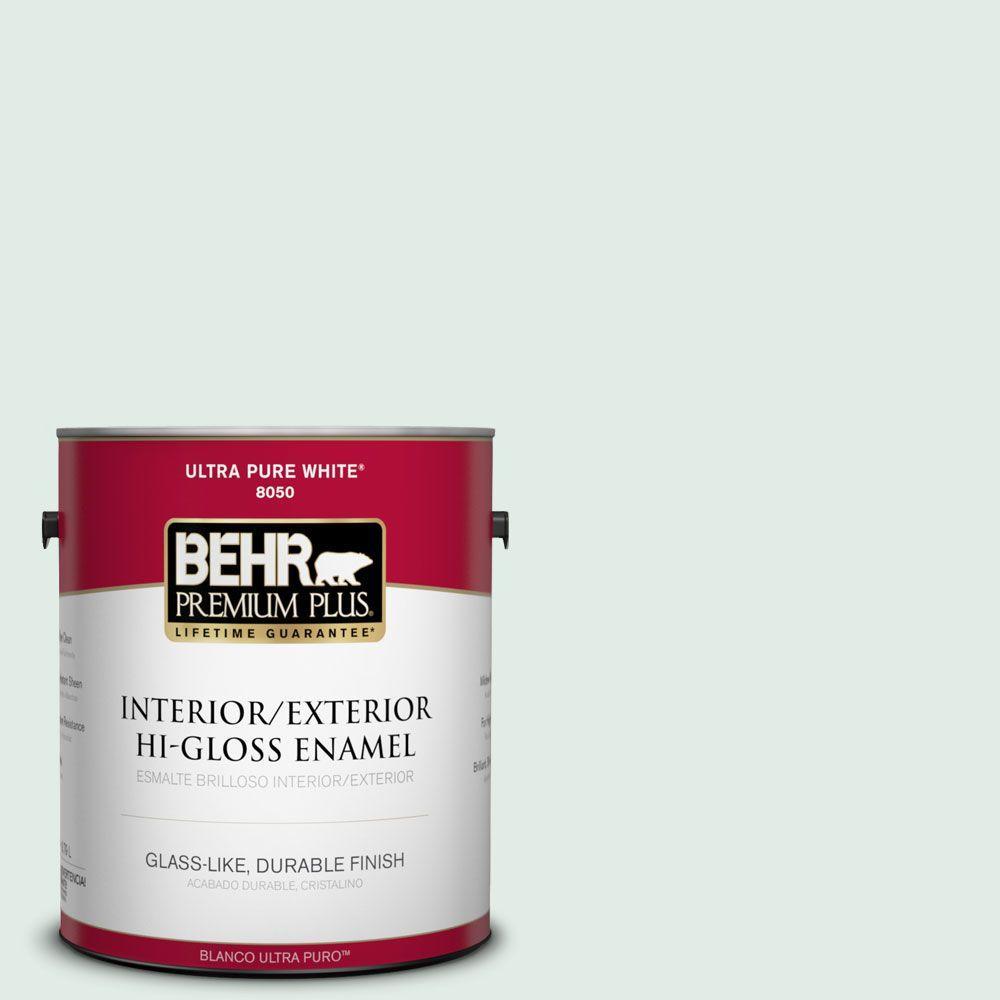 BEHR Premium Plus 1-gal. #ICC-37 Beach Glass Hi-Gloss Enamel Interior/Exterior Paint