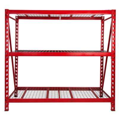 72 in. H x 77 in. W x 24 in. D 3-Shelves Steel Expandable Industrial Storage Rack Unit in Red