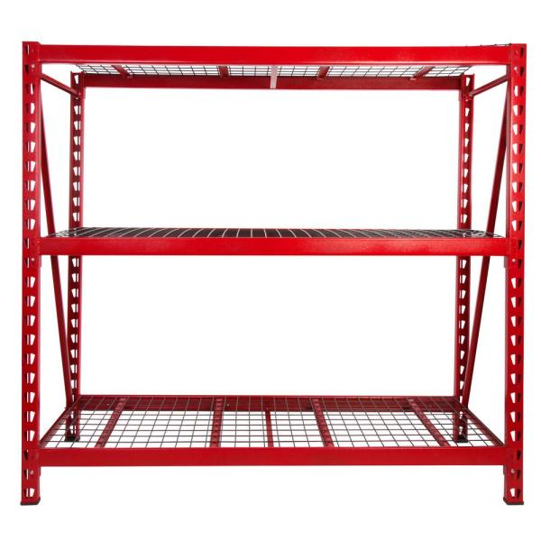 Red 3-Tier Steel Garage Storage Shelving Unit (77 in. W x 72 in. H x 24 in. D)