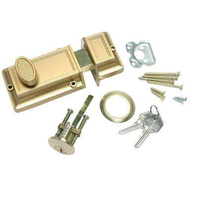 1-3/8 in. x 2-5/8 in. Bronze Night Door Night Latch Deadbolt Lock