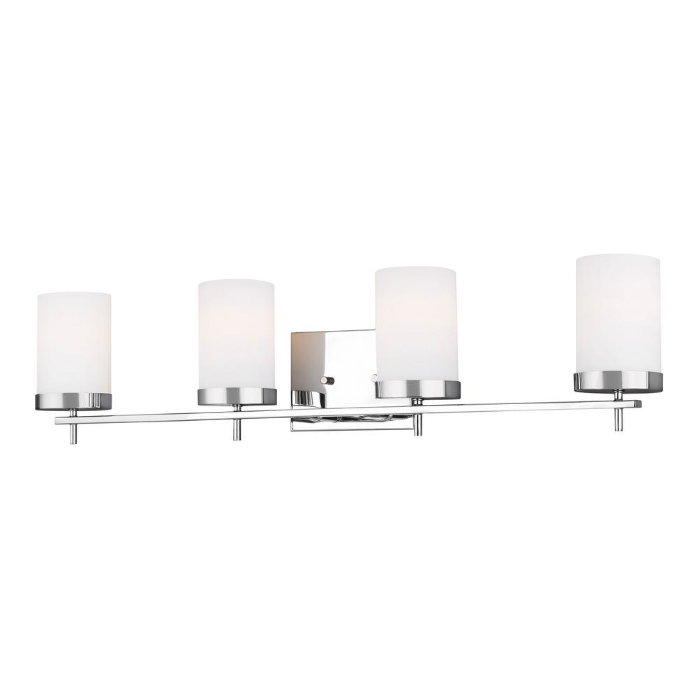 Sea Gull Lighting Zire 34 in. W 4-Light Chrome Vanity Light with Etched White Glass Shades