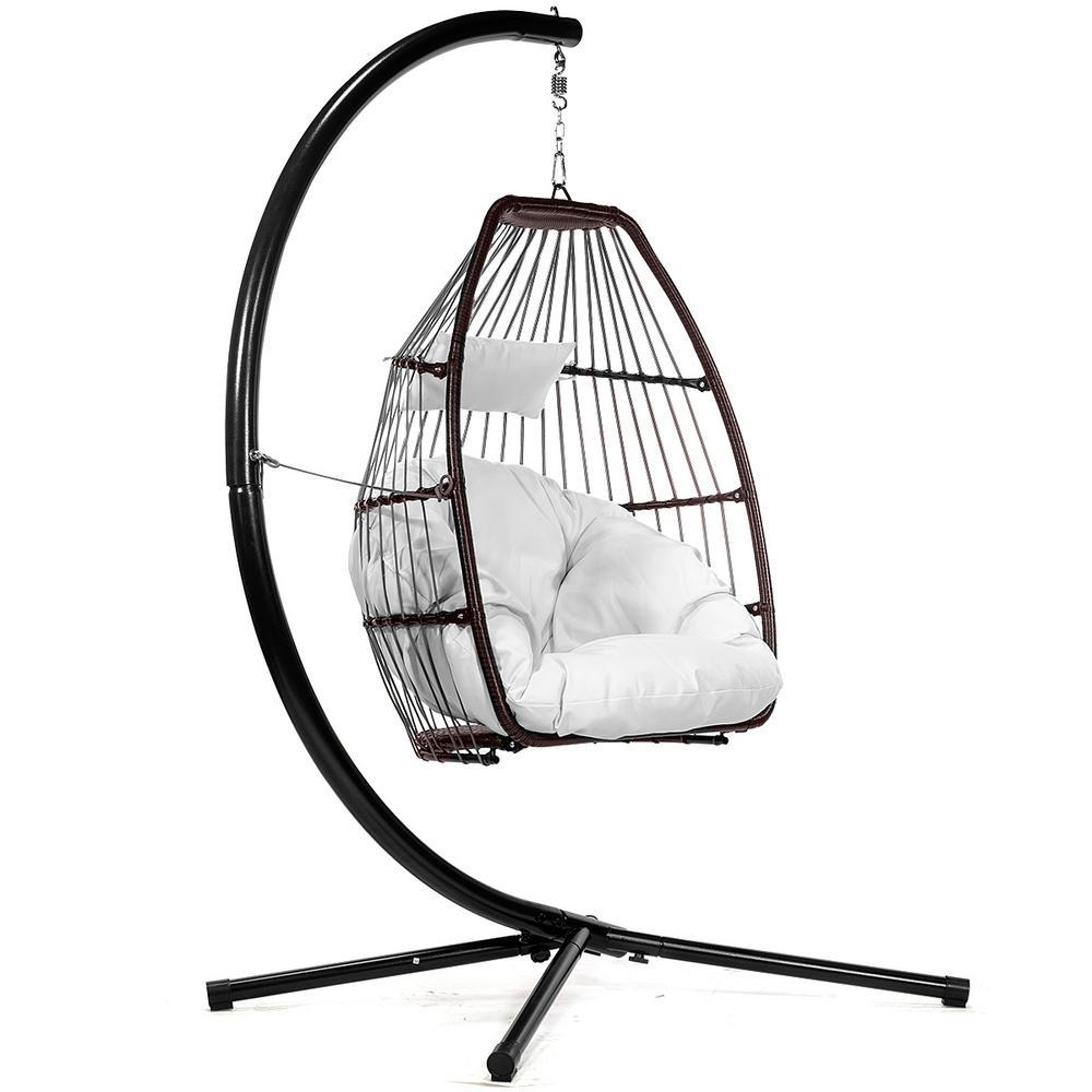 Dark Brown Wicker Egg-Shaped Patio Swing Chair with Cream Cushion