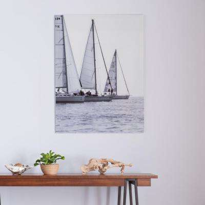 "32 in. H x 24 in. W ""Three Sails"" Glass Wall Art"