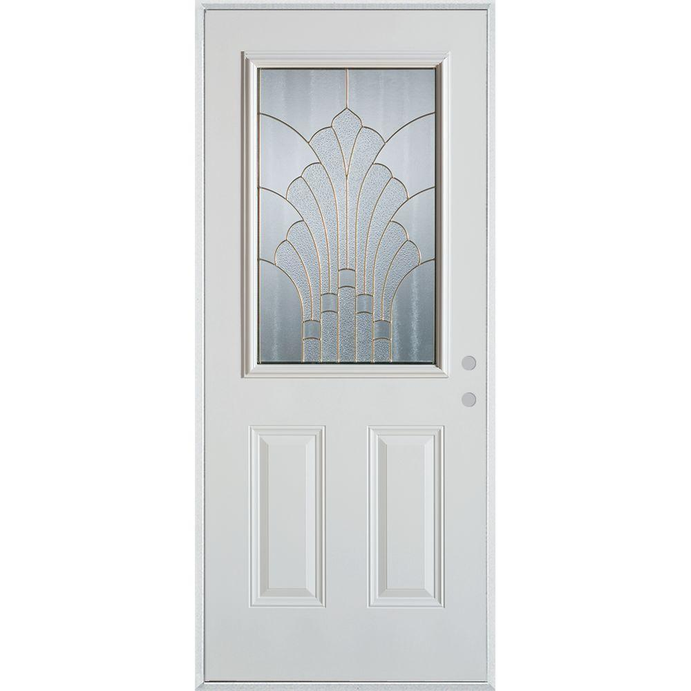 Stanley Doors 36 in. x 80 in. Art Deco 1/2 Lite 2-Panel Painted White Left-Hand Inswing Steel Prehung Front Door