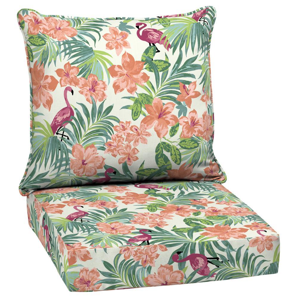 Luau Flamingo Tropical 2-Piece Deep Seating Outdoor Lounge Chair Cushion