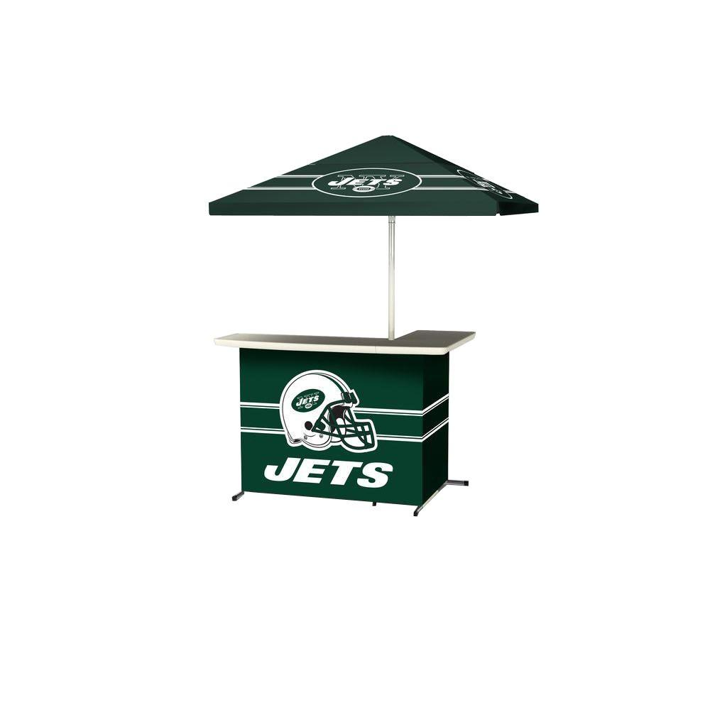 Best of Times New York Jets All-Weather L-Shaped Patio Bar with 6 ft. Umbrella