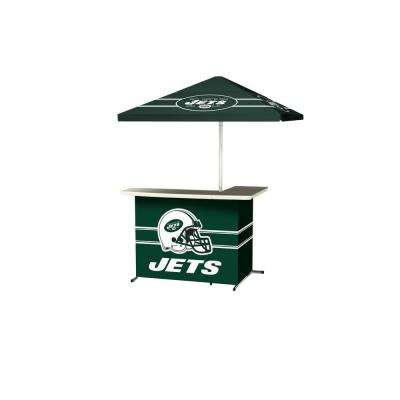New York Jets All-Weather L-Shaped Patio Bar with 6 ft. Umbrella