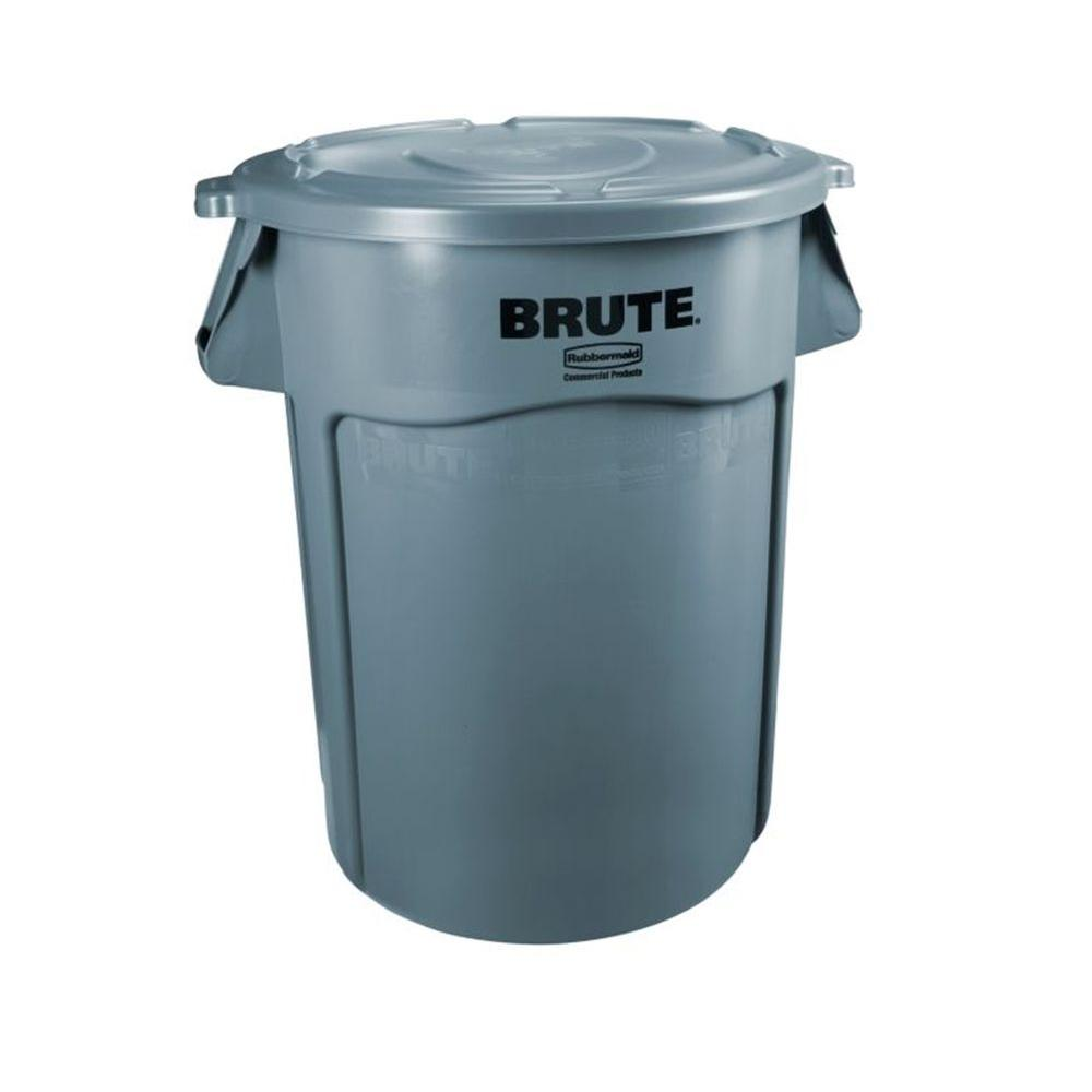 Rubbermaid Commercial Products Brute 32 Gal. Gray Round Vented Trash Can with Lid