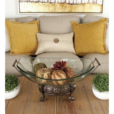23 in. x 10 in. New Traditional Clear Glass and Brown Bowl with Srolled Feet