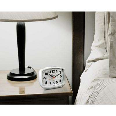 3 in. Tall Electrical Analog White Alarm Clock with backlight