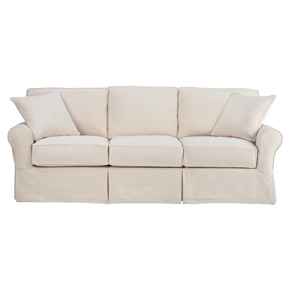 Home Decorators Collection Mayfair 95 In. Classic Natural Twill Fabric Long  Sofa