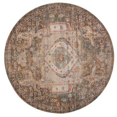 East Ellington Taupe-Teal Medallion 6 ft. 7 in. x 6 ft. 7 in. Round Rug