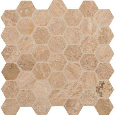 Caramello Hexagon 12 in. x 12 in. x 10mm Honed and Filled Travertine Mesh-Mounted Mosaic Tile (10 sq. ft. / case)