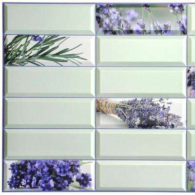 3D Falkirk Retro 10/1000 in. x 38 in. x 19 in. Violet Green Faux Lavender Flowers PVC Wall Panel