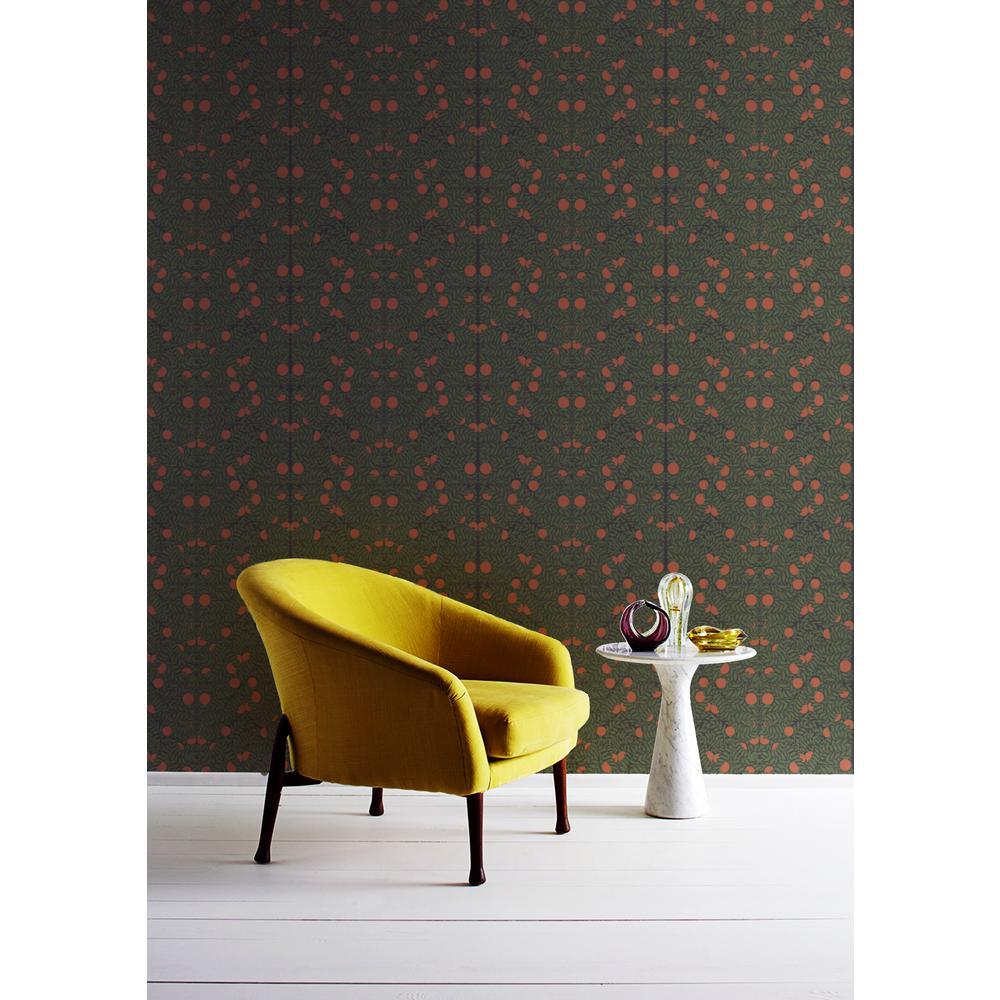 Debut Collection Orange Bush in Forest/Orange Premium Matte Wallpaper