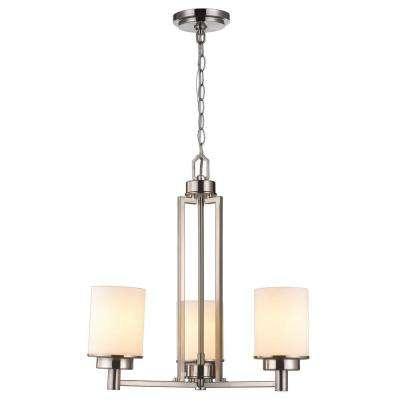 3-Light Brushed Nickel Chandelier with White Frosted Glass Shade