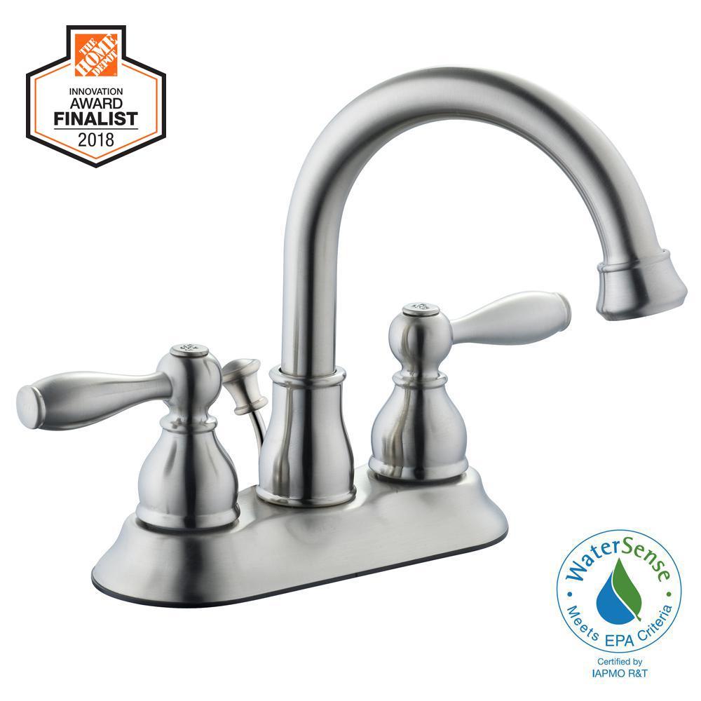 Mandouri 4 in. Centerset 2-Handle High-Arc Bathroom Faucet in Brushed Nickel