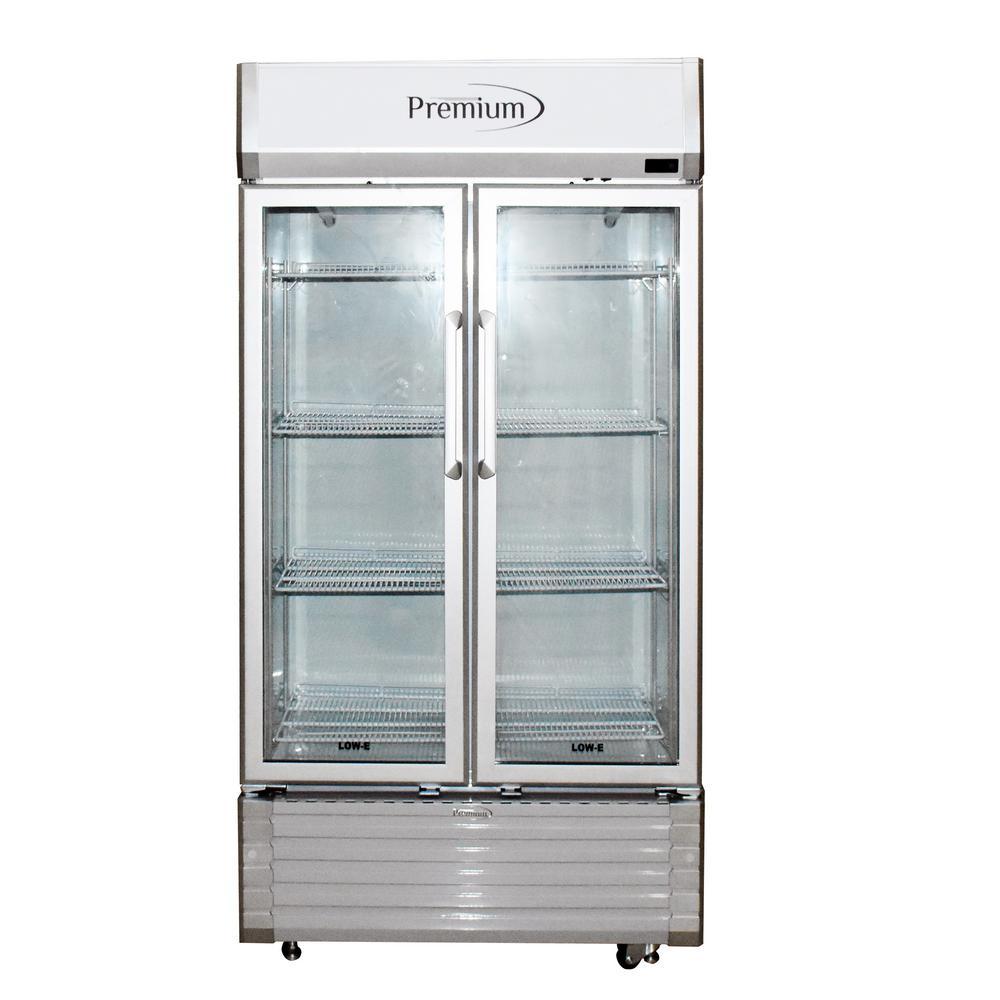 16 cu. ft. Double Door Commercial Refrigerator Beverage Cooler in Gray