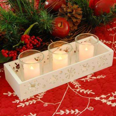 Snowflake Candle Tray with 3 Glass Votives