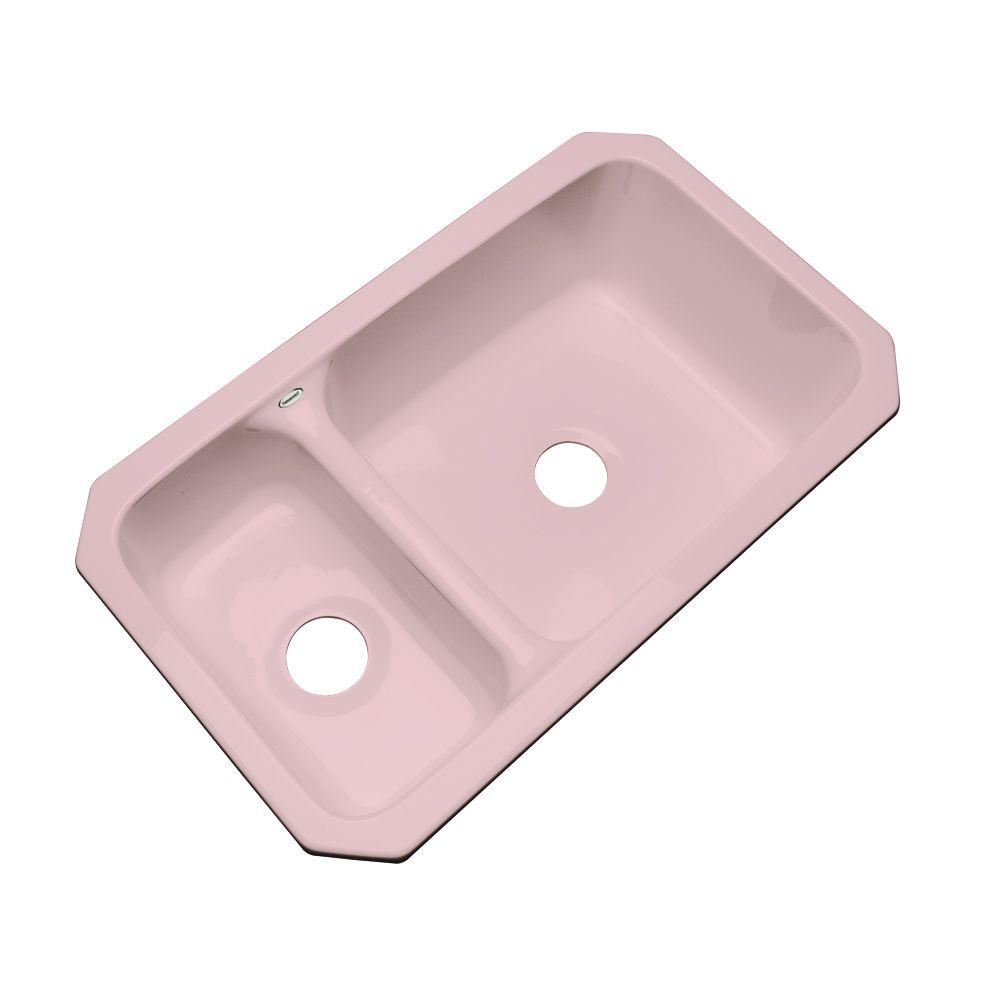 Thermocast Wyndham Undermount Acrylic 33 in. Double Basin Kitchen Sink in Dusty Rose
